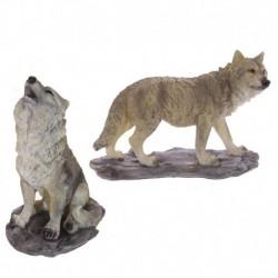Figurine de décoration - Loup hurlant sur rocher