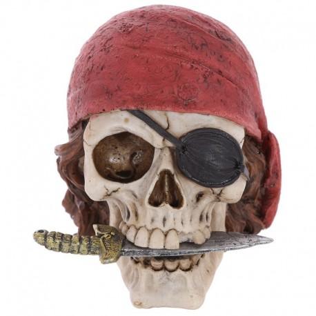 Crâne décoratif pirate avec bandana et couteau