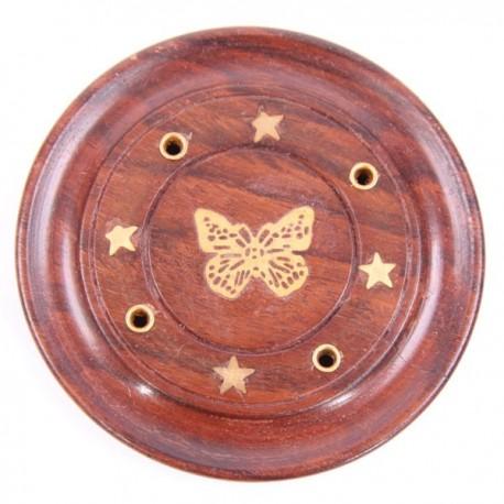 Attrape-cendres rond papillon, bois de sheesham