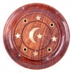 Cendrier rond lune & étoiles, bois de sheesham