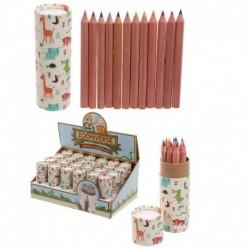Tube de crayons de couleur - Animaux du zoo