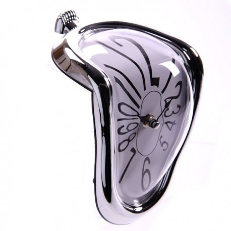 Horloge inspiration Dali, Entourage argenté