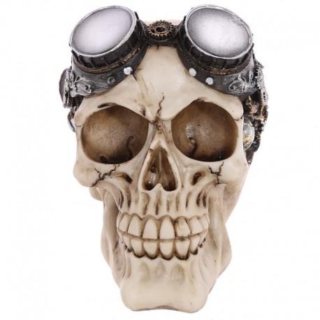 Crâne de décoration avec lunettes style Steampunk