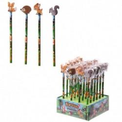 Crayons avec gommes assorties - Animaux de la forêt