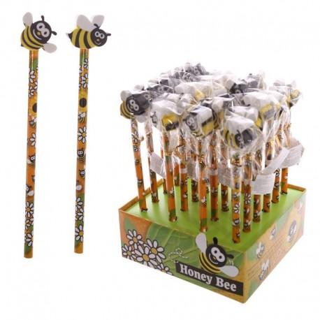 Crayon à papier avec embout gomme - Design abeille