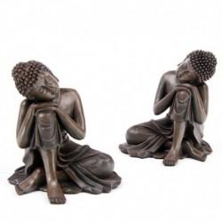 Bouddha Thaï imitation bois - Tête sur un genou