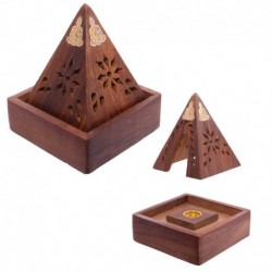 Porte-encens pyramide en bois de Sheesham - Design Bouddha