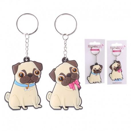 Porte-clefs Carlin en PVC - Collection Pugs & Kisses