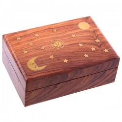 Coffret en bois de Sheesham, incrustation lune, soleil, étoiles