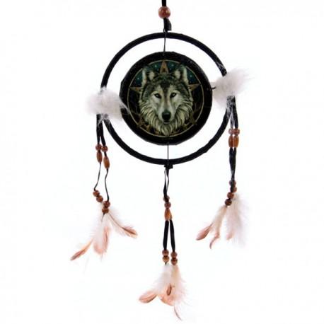 Attrape-rêves motif Tête de loup, 16cm