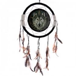 Attrape-rêves motif Tête de loup, 33cm