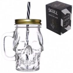Pot en verre forme tête de mort avec paille et couvercle