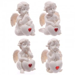 Chérubin Blanc avec une Pierre Coeur Rouge