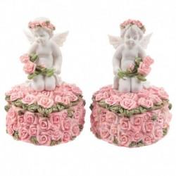 Boîte à Bijoux Chérubin avec Cœur et Bouton de Rose