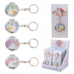 Porte-clés avec miroir de poche - Licorne