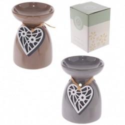 Brûleur à huile en céramique - Coeur en bois