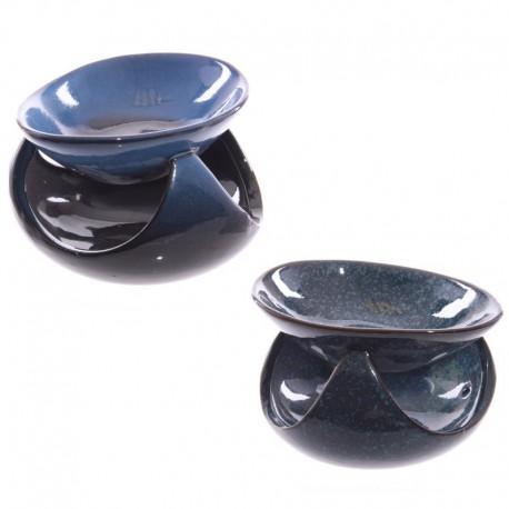 Brûleur à huile Céramique, Forme abstraite, Bleu foncé