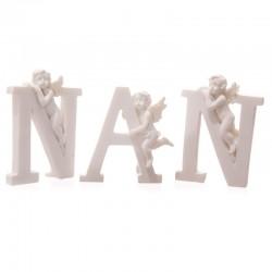 Chérubins blancs avec lettres NAN - Set de 3 lettres