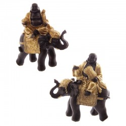 Gros Bouddha Rieur Chinois Or & Marron sur Éléphant ~ Lot de 2 ~