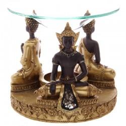 Brûleur A Huile Bouddha Thaï Or & Marron avec Mosaïque en Verre