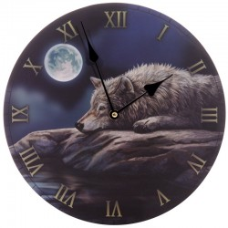 Horloge décor Loup paisible dans la nuit