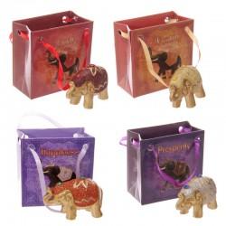 Mini Éléphant Porte-bonheur dans un sac - Pailleté Métallique
