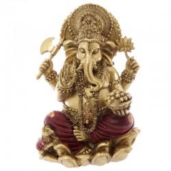 Statuette dieu Ganesh - Or et rouge - 16cm