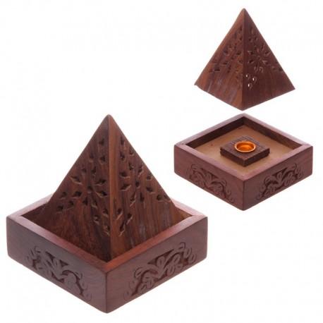 Boîte & Brûleur d'Encens - Pyramide en Bois de Sheesham