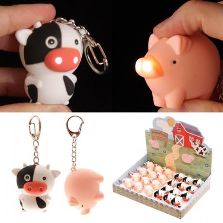 Porte clef LED - Vache et cochon