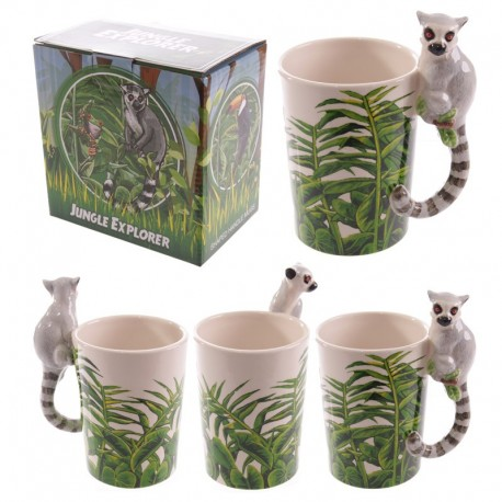 Mug avec anse lémurien - Design jungle