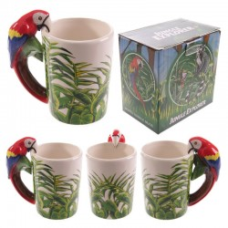 Mug avec anse perroquet - Design jungle