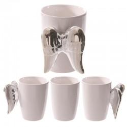 Mug ange en céramique aux ailes argentés