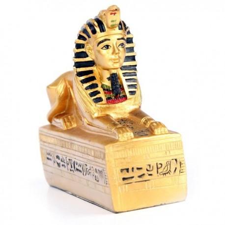 Sphinx Égyptien doré sur Base hiéroglyphe