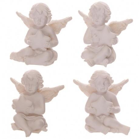 Figurine Chérubin blanc portant une étoile
